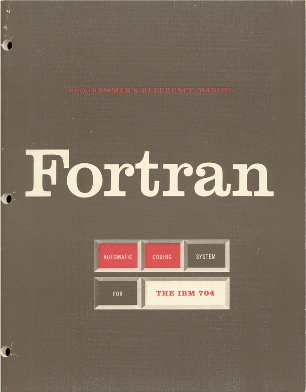 You see the front cover to a book, labelled, in bold slab serif letters: Fortran. The cover itself is brown and three holes are pierced through the side.