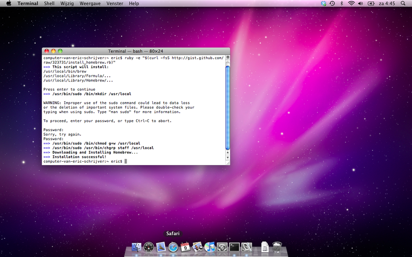 You see a Macintosh OS X 10.6 desktop with the standard background, purple spacescape, the sole program open is the terminal program, showing the output of installing software through the homebrew package manager.