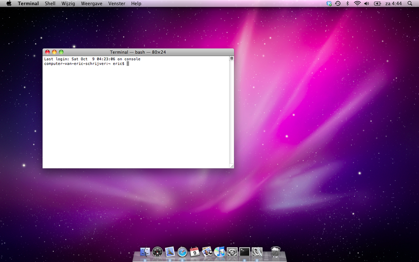 "You see a Macintosh OS X 10.6 desktop with the standard background, purple spacescape, the sole program open is the terminal program, that reads: """"Last login: Sat Oct 9 04:23:06 on console; computer-van-eric-schrijver:~ eric"""