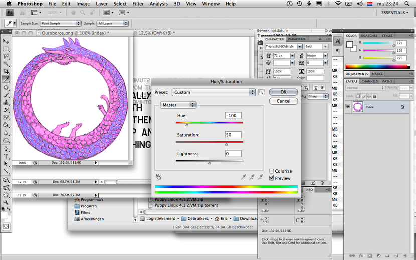 You see a screenshot of a photo-editing program in which an illustration of an uroboros is manipulated so that all its colors take on purplue hue.